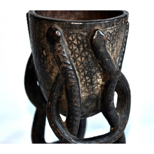 Antique African Kuba Carved Bowl With Snakes - Image 4 of 6