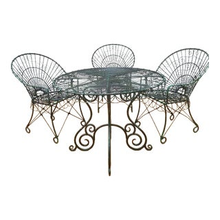 Wrought Iron Peacock Patio Set - Set of 4