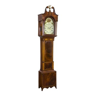 Federal Inlaid & Figured Mahogany Case Clock