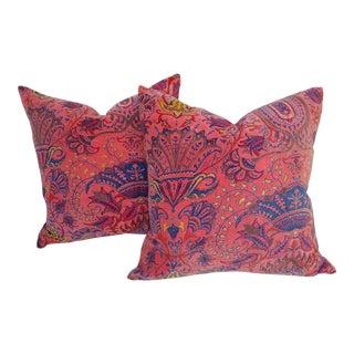 Oriental Cotton Velvet Pillows - A Pair