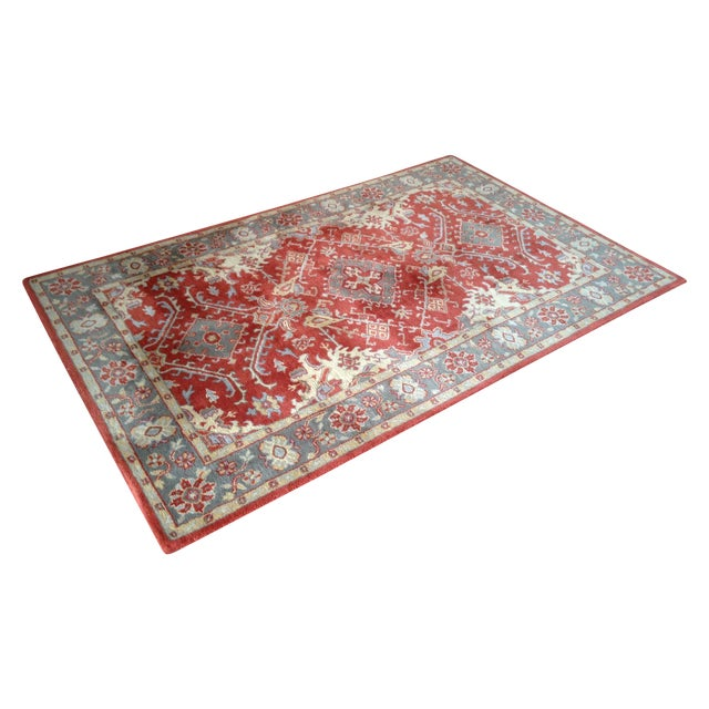 Pottery Barn Red & Blue Area Rug - 5' x 8' - Image 1 of 4