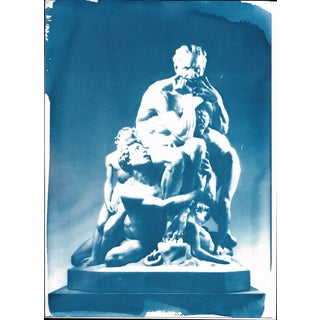 Ugolino and His Sons Marble Sculpture, Cyanotype Print on Watercolor Paper, A4 Size (Limited Edition)