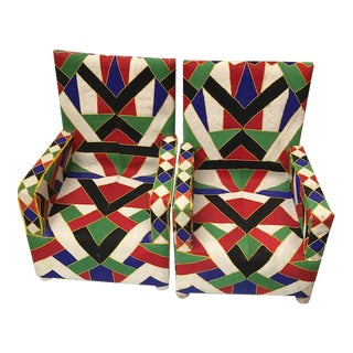 African Nigerian Hand Beaded Chairs - a Pair