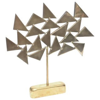 French Solid Brass Heavy Signed One of a Kind Geometric Sculpture