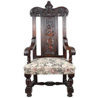 Antique Baroque Chair With Roman Soldier