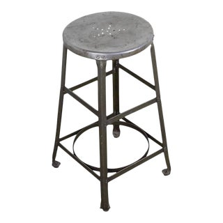 Vintage Factory Stool With Green Legs