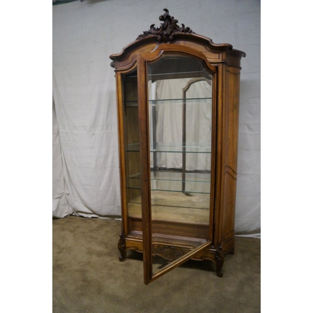Image of Antique 19th Century Louis XV Walnut Curio Cabinet