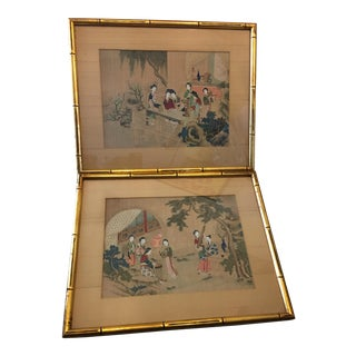 Vintage Japanese Silk Drawings - A Pair
