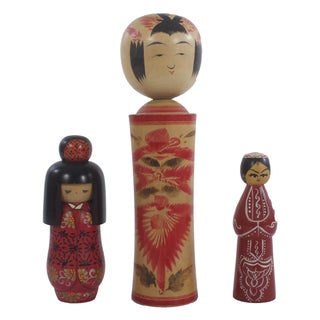 Japanese Kokeshi Dolls - Set of 3