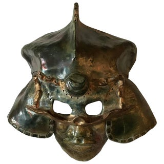 Impressive Raku Mask Of A Warrior In Helmet By Hal Wahlborg