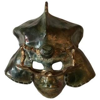 Impressive Raku Mask Of A Warrior In Helmet By Hal Wahlborg