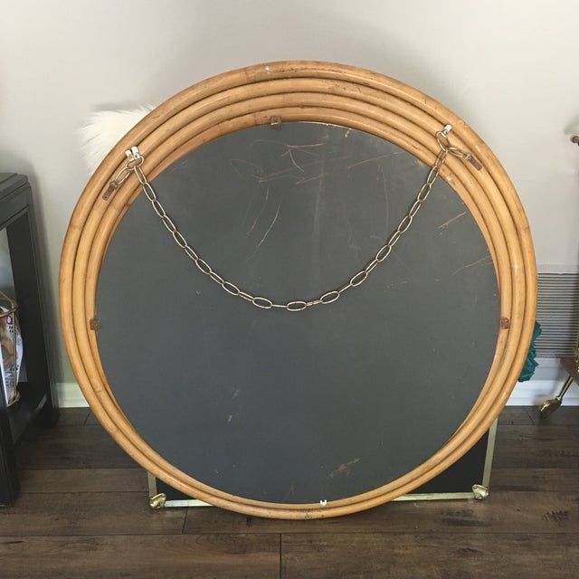 "Rattan Framed Round Mirror 30.5"" - Image 6 of 7"