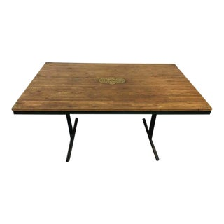 Carved Oak & Metal Dining Table
