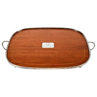 English Wood and Silver Gallery Serving Tray