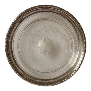 American Cut Glass Platter With Sterling Silver