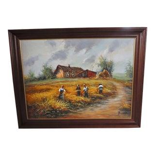 Farmhouse Harvest Original Oil on Canvas
