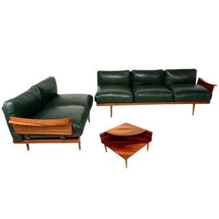 Scandinavian Sofa Set in Rosewood & Leather