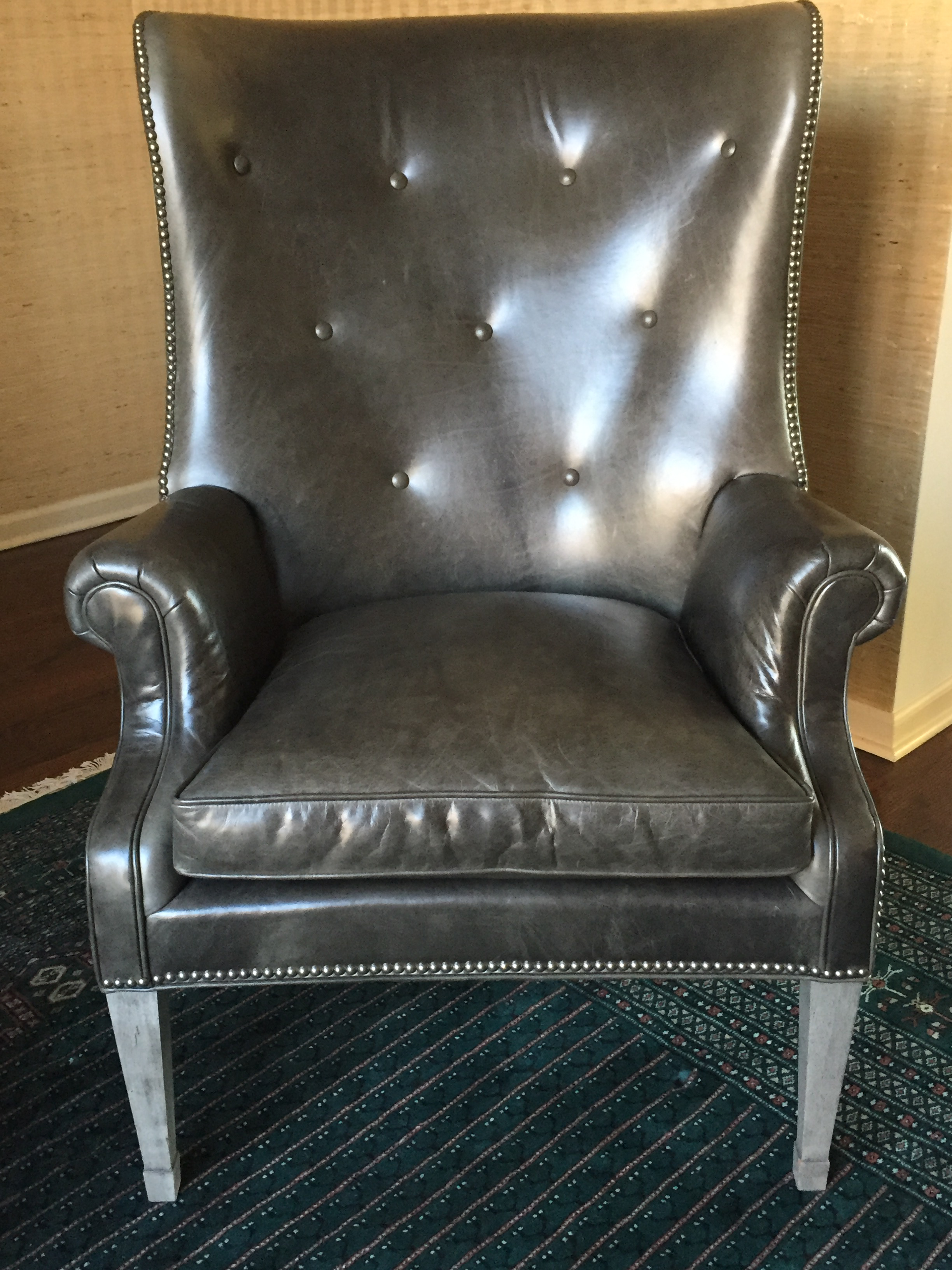 Charcoal Grey Leather Wing Chair   Image 2 Of 3