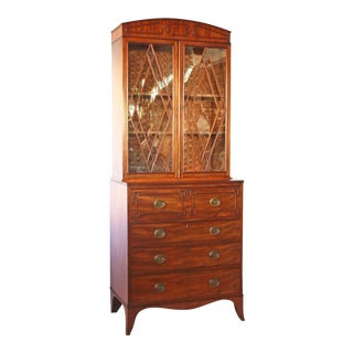 George III Mahogany and Satinwood Breakfront Secretaire Bookcase