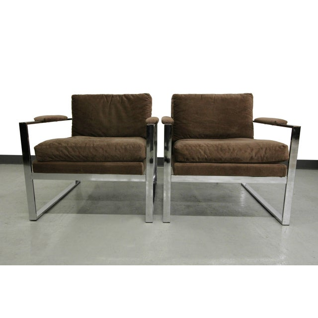 Baughman Chrome Mid Century Lounge Chairs - Pair - Image 5 of 6