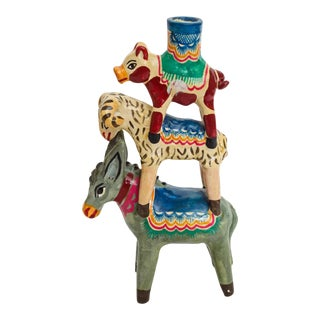 Vintage Mexican Farm Animal Candle Holder