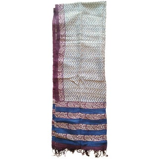 Blue & Purple Block Print Scarf Fabric