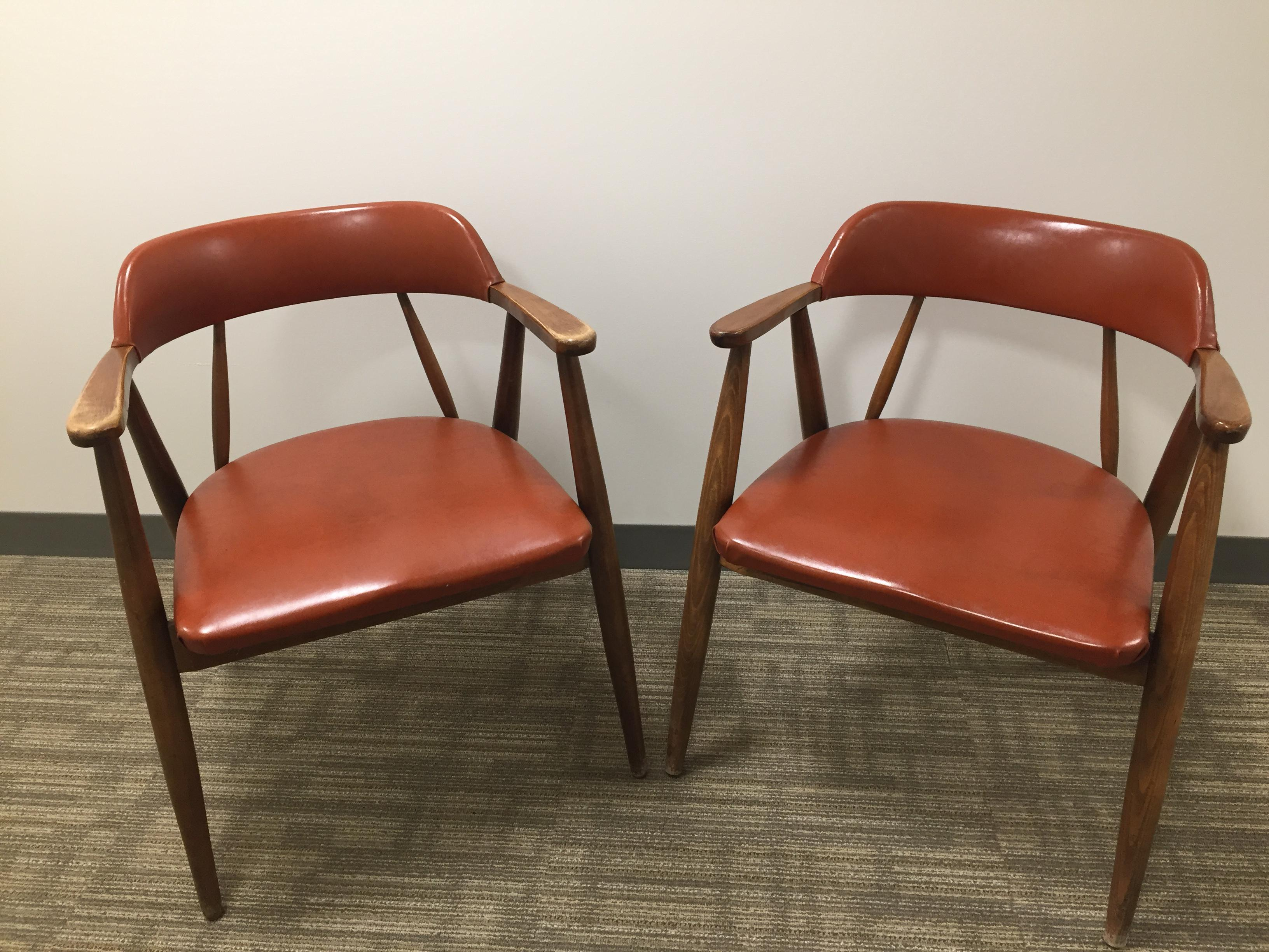 Vintage MidCentury Modern Chairs by Boling Chair Co A Pair