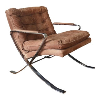 Bernhardt Barcelona Style Lounge Brown Leather Arm Chair