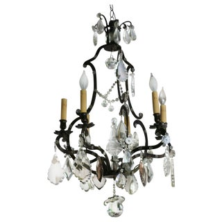 French Metal & Crystal Chandelier