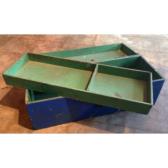 Image of Vintage Painted Workman's Wooden Tool Box