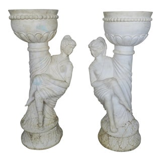 Italian Carrera Marble Figural Planters- A Pair