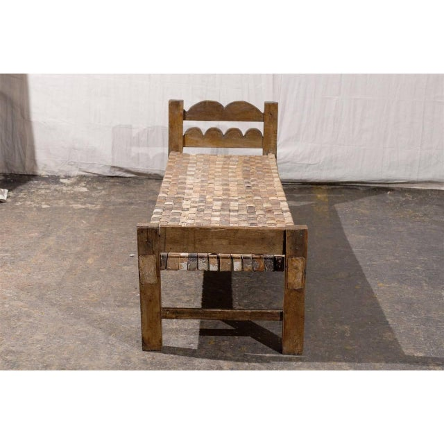 Image of Brazilian Wooden Bench or Daybed with Cow Hide Seat
