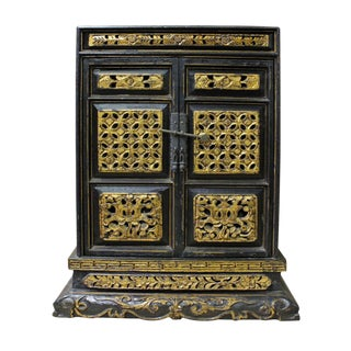 Vintage Chinese Gold Carved Buddha House