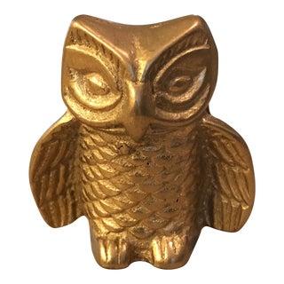 Mid-Century Brass Owl Paper Weight