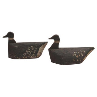Pair of Hand Carved and Painted 19th Century Folky Decoys