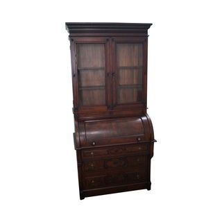 Victorian Walnut Cylinder Roll Secretary Desk
