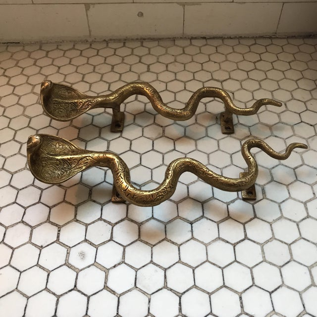 Gold Brass Cobra Door Handles- a Pair - Image 6 of 11
