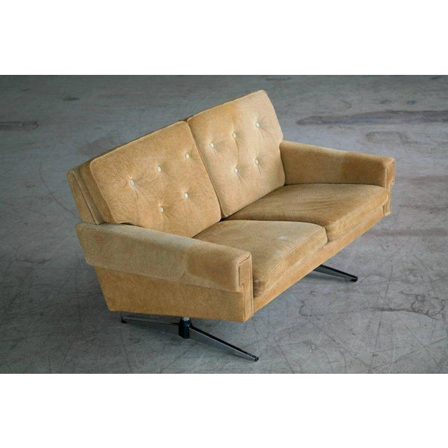 Svend Skipper Attributed Airport-Style Suede Two-Seat Sofa or Settee - Image 3 of 7