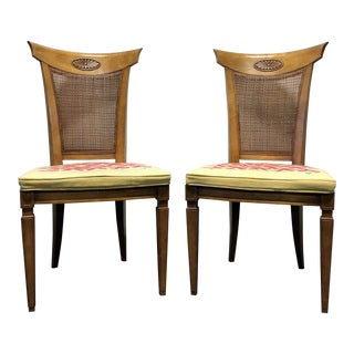 DREXEL HERITAGE Palazzo Italian Provincial Neoclassical Cane Dining Side Chairs - Pair