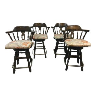 Windsor Style Carved Walnut & Metal Bar Stools - Set of 4