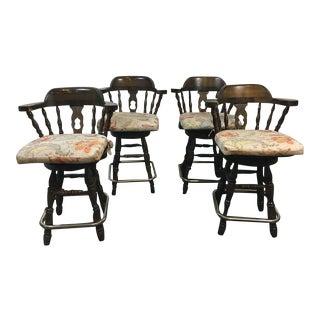 Windsor Style Carved Walnut & Metal Bar Stools - Set of 4