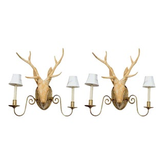 Deer Head Sconces in the Manner of Lalanne - A Pair