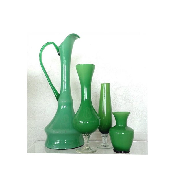 Kelly Green Empoli Vases - Set of 4 - Image 2 of 5