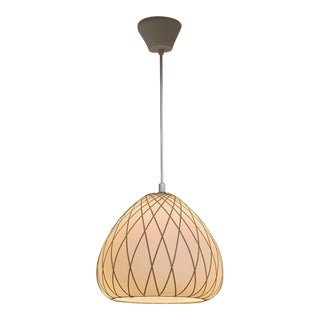 Opaline Glass and Rattan Pendant, Finland, 1950s