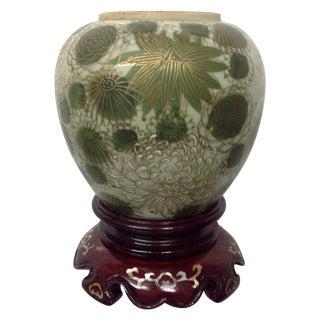 Fujita Kutani Green Mum Vase & Rosewood Stand