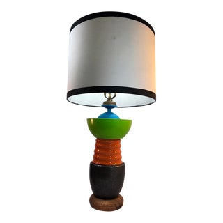 Handmade Playful and Colorful Neon Green & Orange Table Lamp