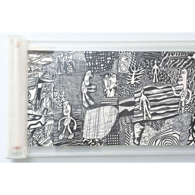 "Rare Jean Dubuffet Monochrome Silkscreen Mural on Paper Scroll, ""Parcours"" - Image 11 of 11"