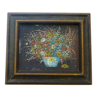 Antique Signed Atwater Floral Oil on Canvas Painting