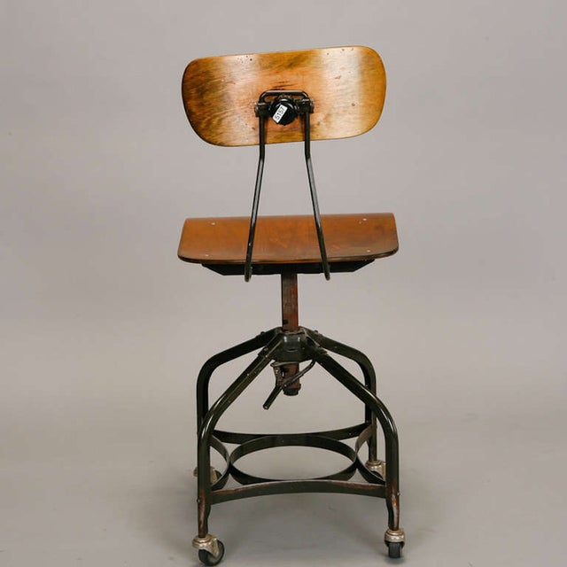 Toledo style adjustable swiveling industrial chair chairish - Cb industry chair ...