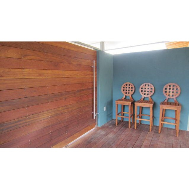 McGuire Orlando Diaz-Azcuy Portico Solid Teak Barstools - Set of 3 - Image 9 of 9